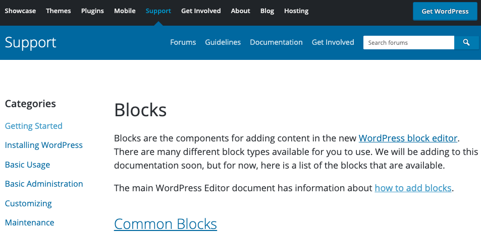 WordPress support article about Blocks.