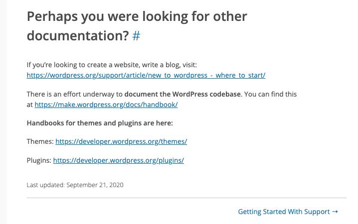 WordPress support handbook page